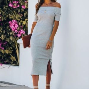 Ribbed bodycon off the shoulder midi dress